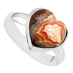 5.63cts heart natural mexican laguna lace agate silver ring size 9 t21716