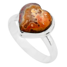 5.63cts heart mexican laguna lace agate silver handmade ring size 9 t21790