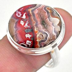 18.43cts solitaire natural mexican laguna lace agate silver ring size 9 t46932