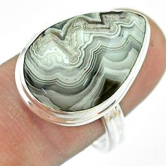 14.88cts solitaire natural mexican laguna lace agate silver ring size 9 t54172