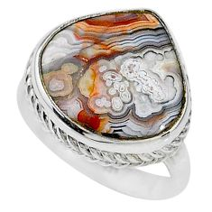 12.83cts solitaire natural mexican laguna lace agate silver ring size 8.5 t10302