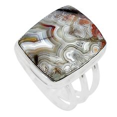 14.39cts solitaire natural mexican laguna lace agate silver ring size 8.5 t10405