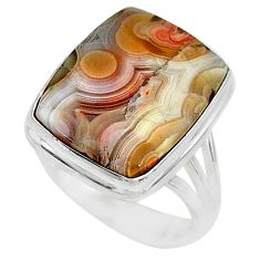 15.76cts solitaire natural mexican laguna lace agate silver ring size 8.5 t10408