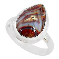 5.63cts solitaire natural mexican laguna lace agate silver ring size 6.5 t10566