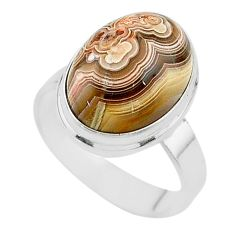 10.35cts solitaire natural mexican laguna lace agate silver ring size 9.5 t17825