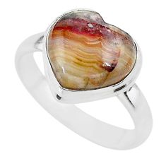 5.11cts heart mexican laguna lace agate silver handmade ring size 8.5 t21798