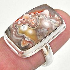 15.80cts solitaire natural mexican laguna lace agate silver ring size 6.5 t46904