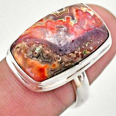 15.29cts solitaire natural mexican laguna lace agate silver ring size 6.5 t46909