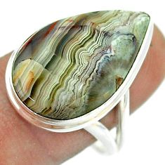 15.39cts solitaire natural mexican laguna lace agate silver ring size 8.5 t54179