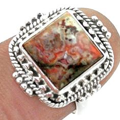 5.51cts solitaire natural mexican laguna lace agate silver ring size 6.5 t55962