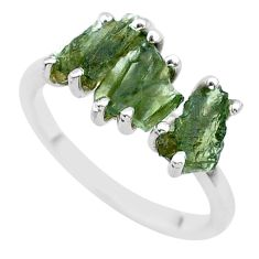 5.54cts solitaire natural moldavite (genuine czech) silver ring size 7 t29413