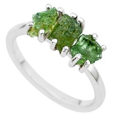 5.13cts solitaire natural moldavite (genuine czech) silver ring size 7 t29415