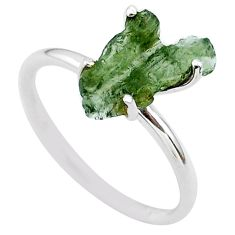 4.22cts solitaire natural moldavite (genuine czech) silver ring size 7 t29422