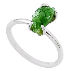 3.50cts solitaire natural moldavite (genuine czech) silver ring size 7 t29424