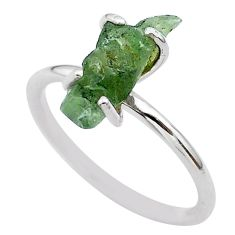 4.22cts solitaire natural moldavite (genuine czech) silver ring size 7 t29426