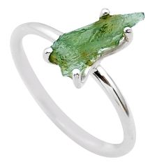 3.86cts solitaire natural moldavite (genuine czech) silver ring size 7 t29432