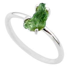 3.82cts solitaire natural moldavite (genuine czech) silver ring size 7 t29438