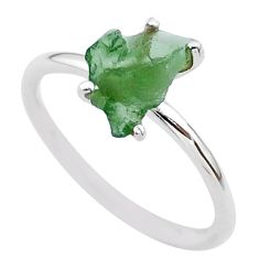 3.84cts solitaire natural moldavite (genuine czech) silver ring size 7 t29441