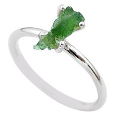 3.45cts solitaire natural moldavite (genuine czech) silver ring size 7 t29447