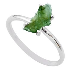 3.43cts solitaire natural moldavite (genuine czech) silver ring size 7 t29450