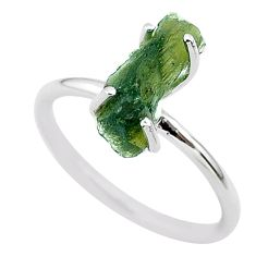 3.81cts solitaire natural moldavite (genuine czech) silver ring size 7 t29457