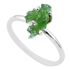 3.50cts solitaire natural moldavite (genuine czech) silver ring size 7 t29478