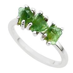 5.54cts solitaire natural moldavite (genuine czech) silver ring size 8 t29420