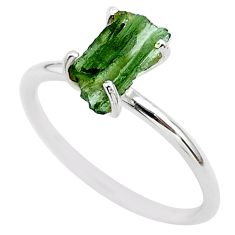 4.22cts solitaire natural moldavite (genuine czech) silver ring size 8 t29421
