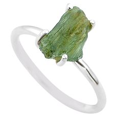 4.50cts solitaire natural moldavite (genuine czech) silver ring size 8 t29428
