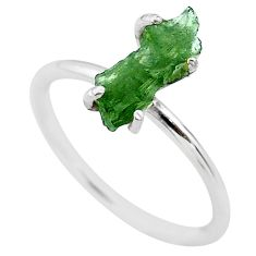 4.22cts solitaire natural moldavite (genuine czech) silver ring size 8 t29435