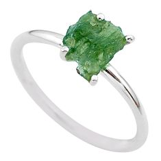 3.86cts solitaire natural moldavite (genuine czech) silver ring size 8 t29444