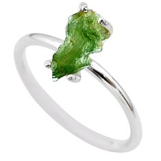 4.22cts solitaire natural moldavite (genuine czech) silver ring size 8 t29453