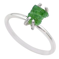 4.22cts solitaire natural moldavite (genuine czech) silver ring size 8 t29455