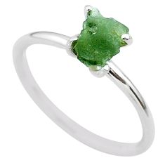 3.84cts solitaire natural moldavite (genuine czech) silver ring size 8 t29456