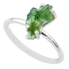 4.17cts solitaire natural moldavite (genuine czech) silver ring size 8 t29460