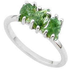 5.54cts solitaire natural moldavite (genuine czech) silver ring size 9 t29403