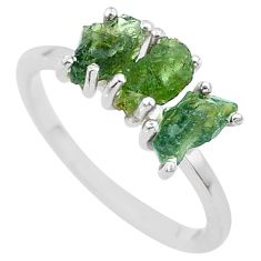 6.15cts solitaire natural moldavite (genuine czech) silver ring size 9 t29406