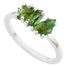 5.54cts solitaire natural moldavite (genuine czech) silver ring size 9 t29412