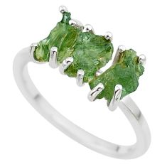 5.92cts solitaire natural moldavite (genuine czech) silver ring size 9 t29417