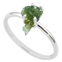 3.47cts solitaire natural moldavite (genuine czech) silver ring size 9 t29423