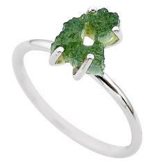 4.88cts solitaire natural moldavite (genuine czech) silver ring size 9 t29440