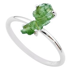 4.22cts solitaire natural moldavite (genuine czech) silver ring size 9 t29442