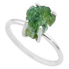 4.88cts solitaire natural moldavite (genuine czech) silver ring size 9 t29446