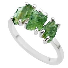 5.54cts solitaire natural moldavite (genuine czech) silver ring size 7.5 t29418