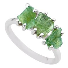 5.92cts solitaire natural moldavite (genuine czech) silver ring size 7.5 t29431