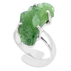 8.31cts solitaire natural moldavite 925 silver adjustable ring size 4 t50003