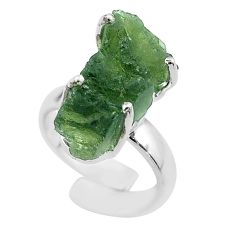 8.94cts solitaire natural moldavite 925 silver adjustable ring size 4 t50033