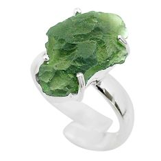 8.42cts solitaire natural moldavite 925 silver adjustable ring size 6.5 t50021