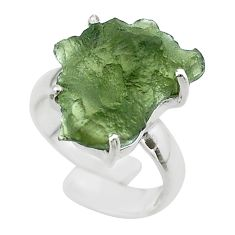 6.86cts solitaire natural moldavite 925 silver adjustable ring size 4.5 t50035