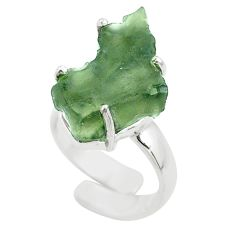 7.04cts solitaire natural moldavite fancy silver adjustable ring size 4 t50008
